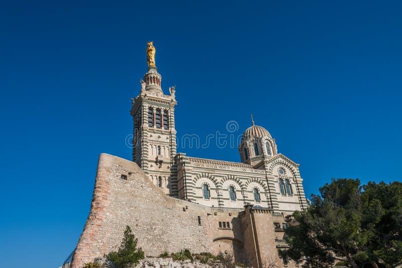Kyrka av Notre Dame de la Garde, Marseille, Frankrike arkivfoto