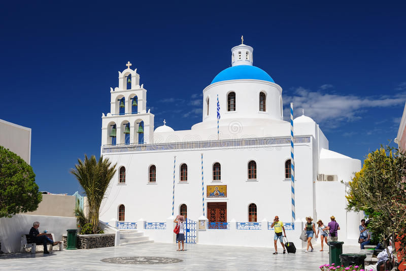 Kyrka av Panagia, Oia, Santorini royaltyfri fotografi