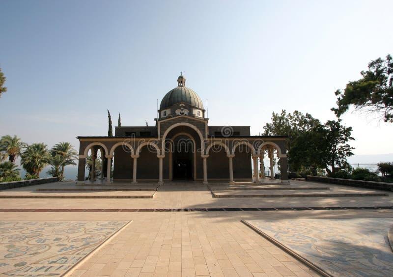 Kyrka av saligheterna, Galilee, Israel arkivbilder