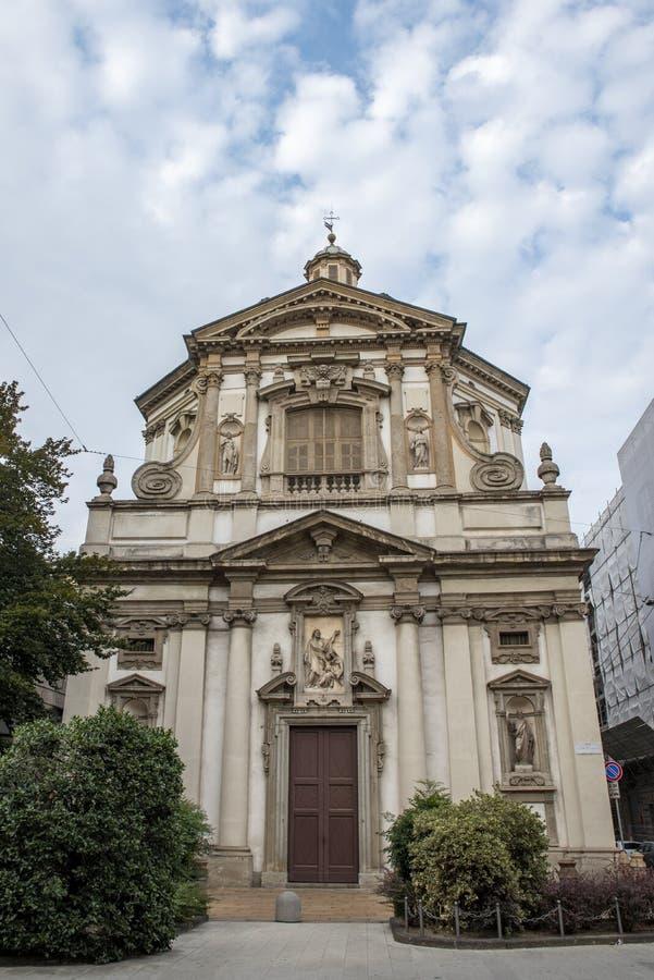 Kyrka av San Giuseppe i Milan, Italien royaltyfria foton