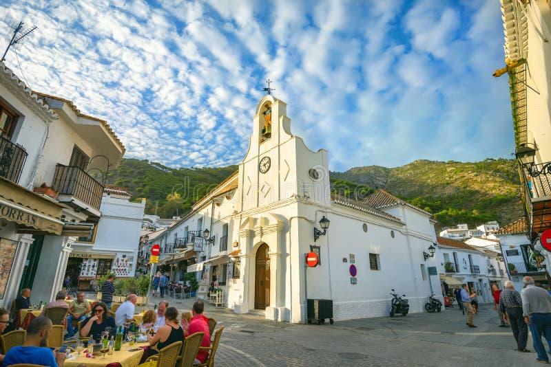 Kyrka av San Sebastian i Mijas Andalusia Costa del Sol, Spai fotografering för bildbyråer