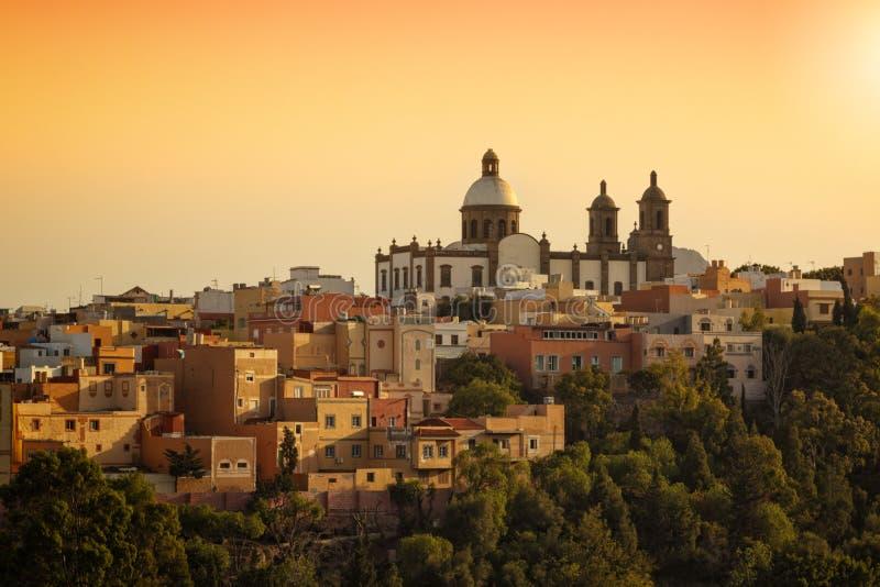 Kyrka av San Sebastian ovanför Agà ¼imes, storslagen kanariefågel royaltyfria bilder