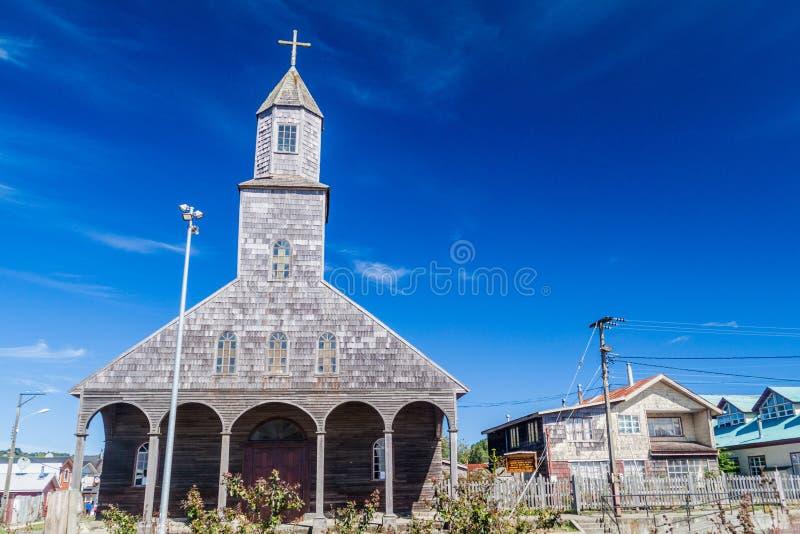 Kyrka av Santa Maria de Loreto i den Achao byn royaltyfria foton