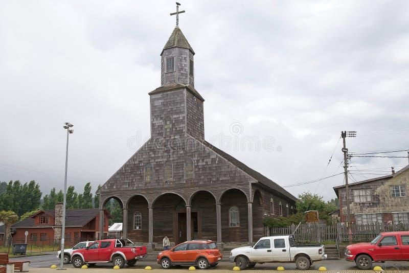 Kyrka av Santa Maria de Loreto på Achao, Quinchao ö, Chile arkivbild