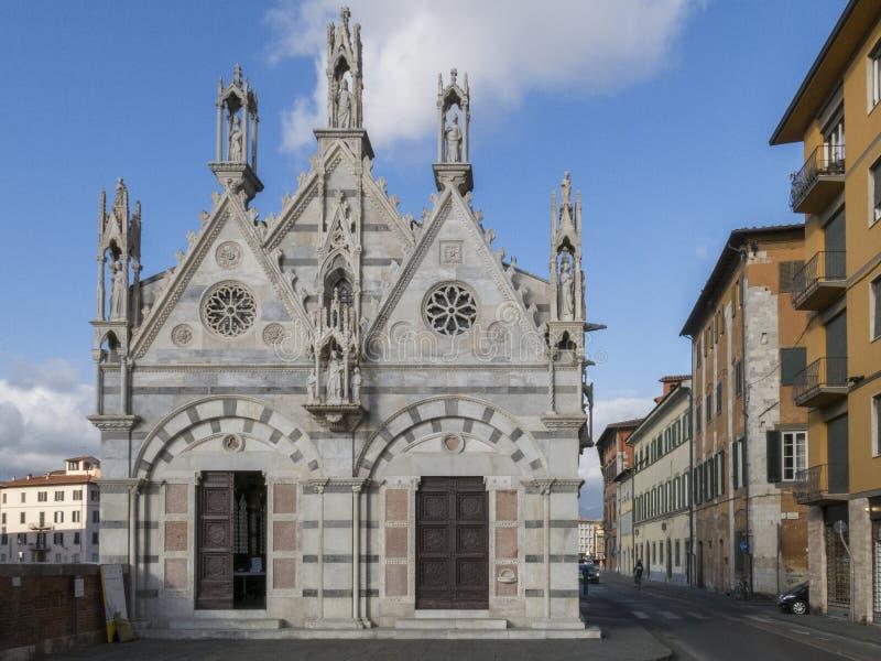 Kyrka av Santa Maria della Spina i Pisa tuscany arkivbild