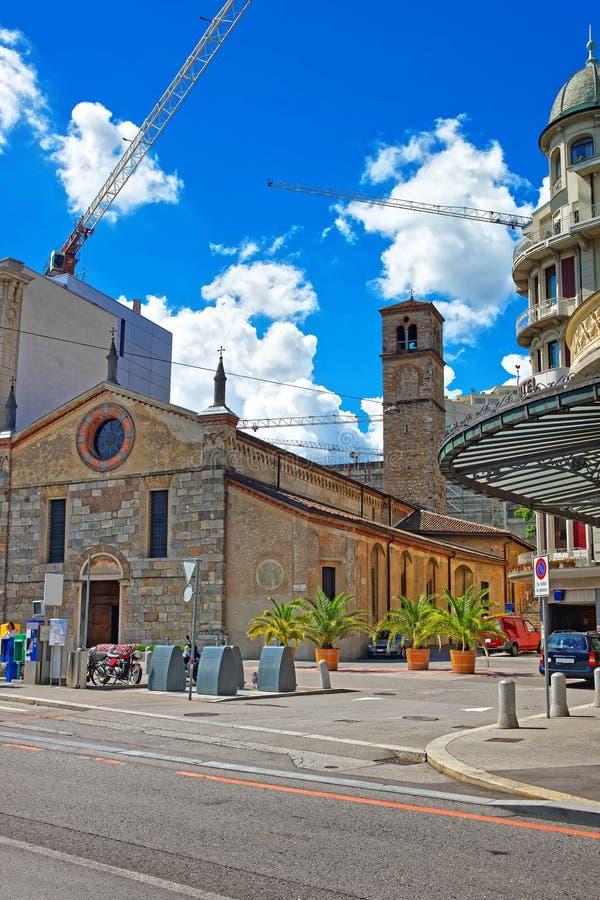 Kyrka av Santa Maria på promenad Lugano Ticino i Schweiz arkivbild