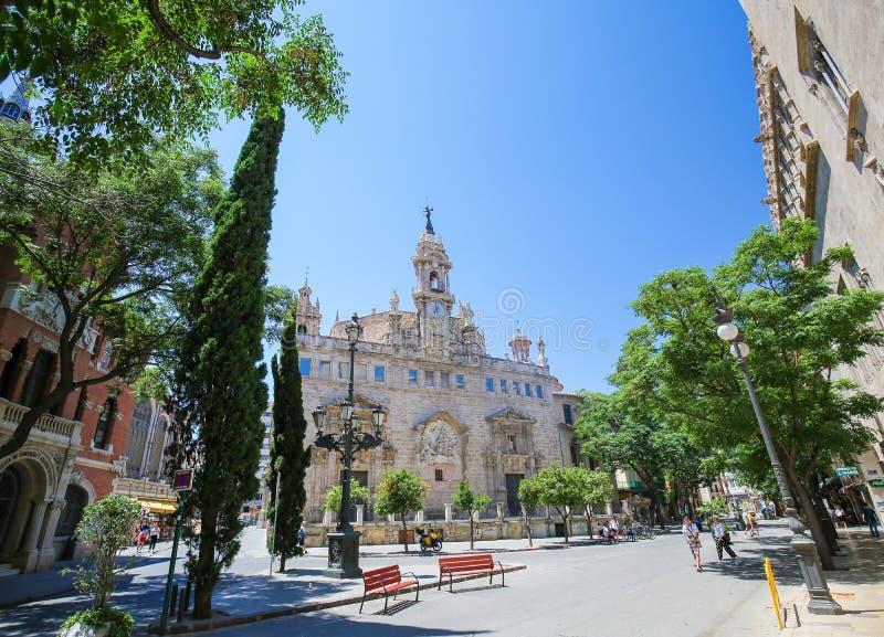 Kyrka av Santos Juanes i Valencia, Spanien fotografering för bildbyråer