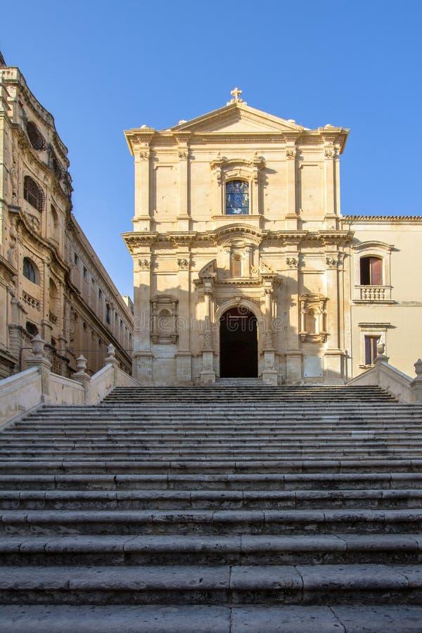 Kyrka av St Francis, Noto, Italien arkivbilder