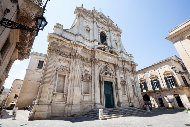 Kyrka av St Irene till teatrar Lecce Italien royaltyfri foto