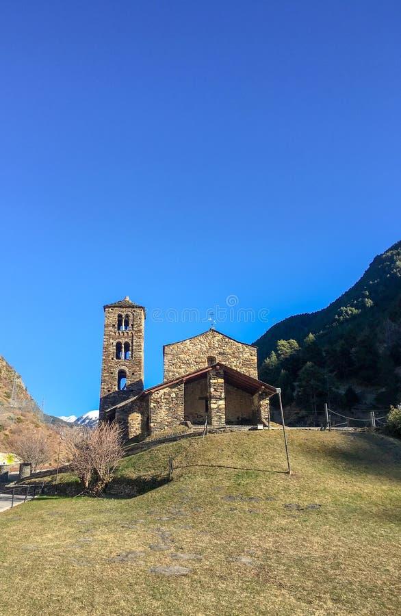 Kyrka av St Joan de Caselles i Canillo, Andorra royaltyfri foto