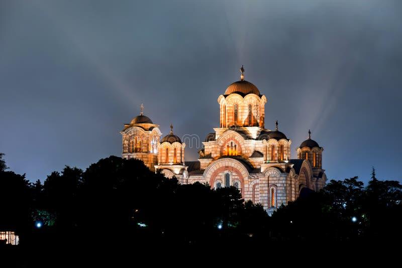 Kyrka av St Marco på natten belgrade serbia royaltyfri foto