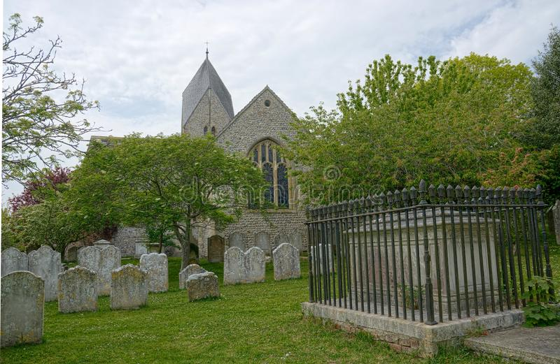 Kyrka av St Mary, den välsignade oskulden, Sompting, Sussex, UK arkivfoto