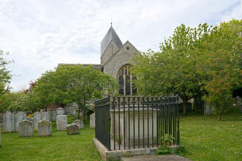Kyrka av St Mary, den välsignade oskulden, Sompting, Sussex, UK royaltyfria foton