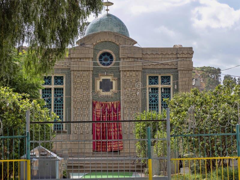 Kyrka av St Mary av Zion, var kapellet lokaliseras, var tillflykten av överenskommelsen hålls allegedly ethiopia royaltyfri fotografi