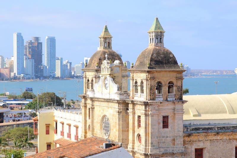 Kyrka av St Peter Claver i Cartagena, Colombia royaltyfri fotografi