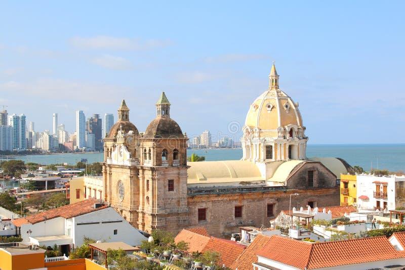 Kyrka av St Peter Claver i Cartagena, Colombia arkivbilder