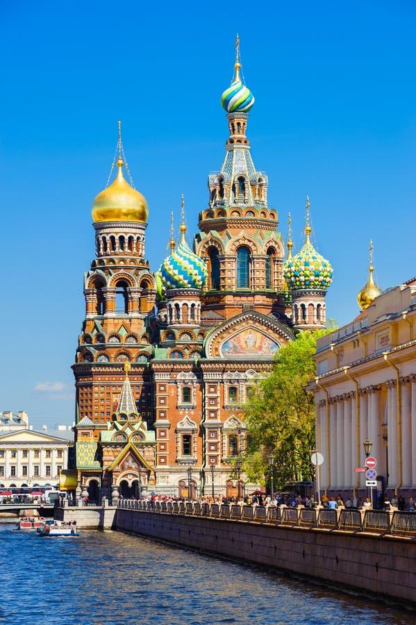 Kyrka av uppståndelsen av Kristus, St Petersburg, Ryssland arkivbild