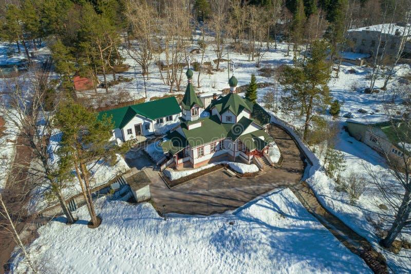Kyrka av uppstigningen av Herreflygfotograferingen Pitkaranta Karelia royaltyfria bilder