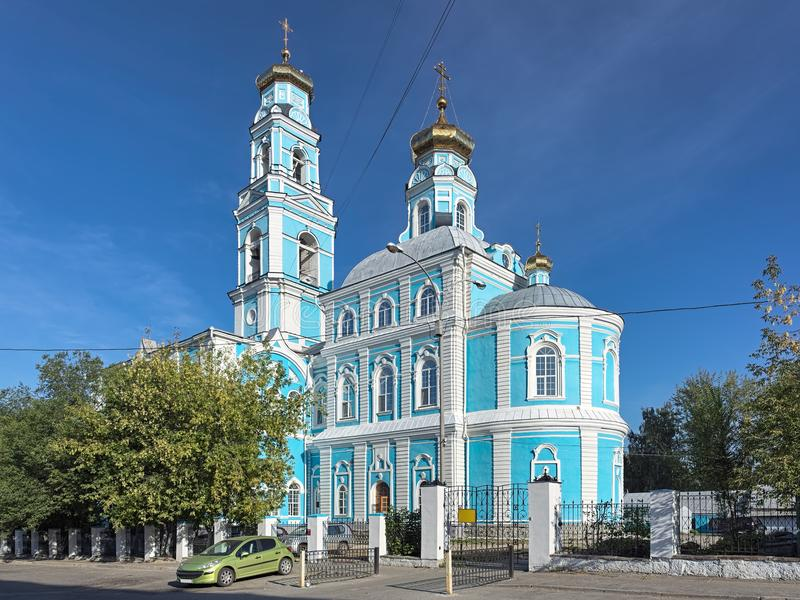 Kyrka av uppstigningen av Herren i Yekaterinburg, Ryssland arkivfoton