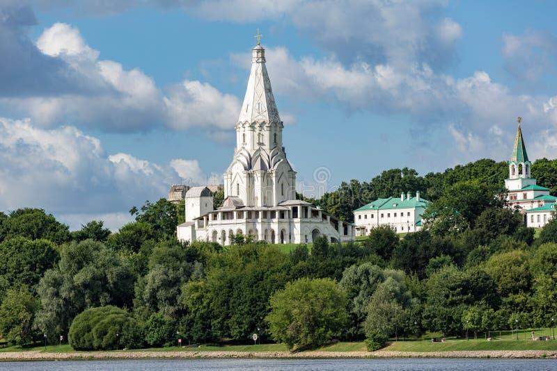 Kyrka av uppstigningen i Kolomenskoye, Moscow, Ryssland fotografering för bildbyråer