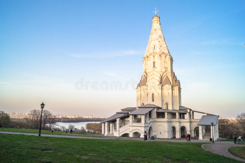 Kyrka av uppstigningen, Kolomenskoye godsmuseum, Moskva arkivfoton