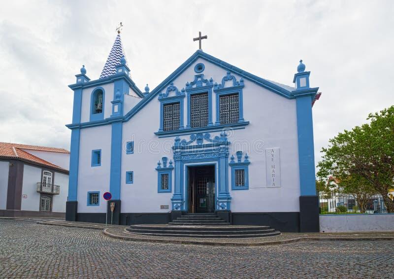 Kyrka av vår dam av befruktningen, Angra, Azores royaltyfri bild