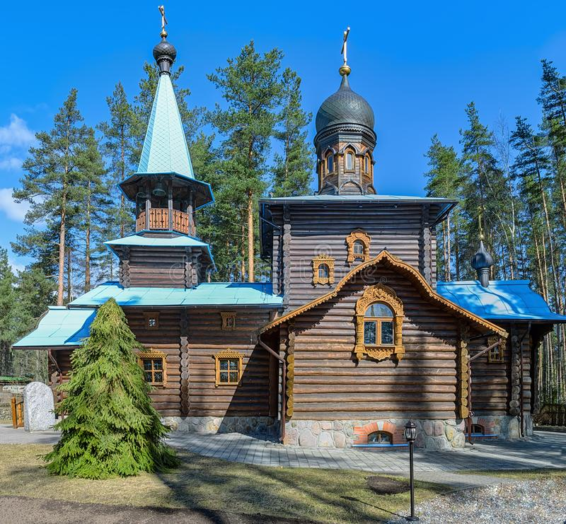 Kyrka av vår dam Konevskaya Leningrad region, Ryssland royaltyfri foto