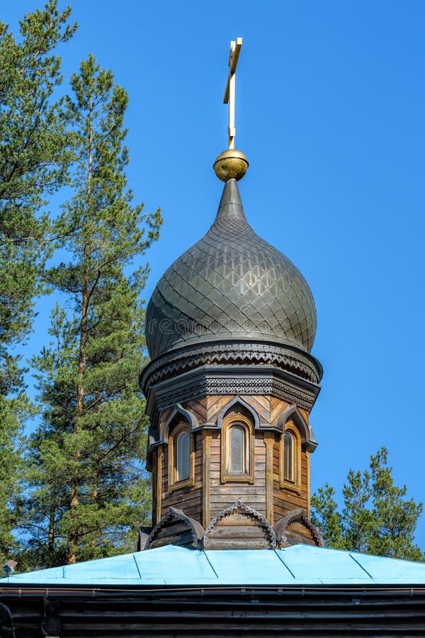 Kyrka av vår dam Konevskaya Leningrad region, Ryssland fotografering för bildbyråer