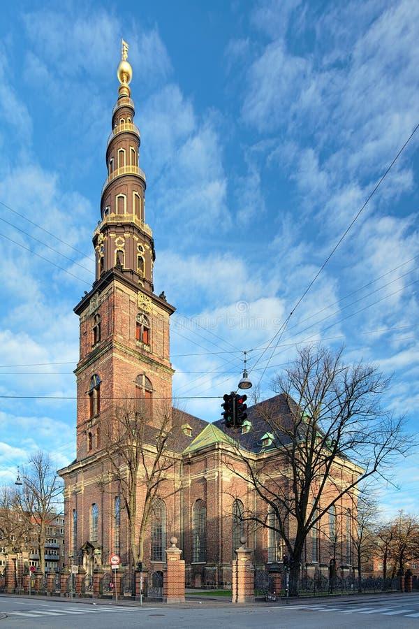 Kyrka av vår frälsare i Köpenhamnen, Danmark arkivbilder