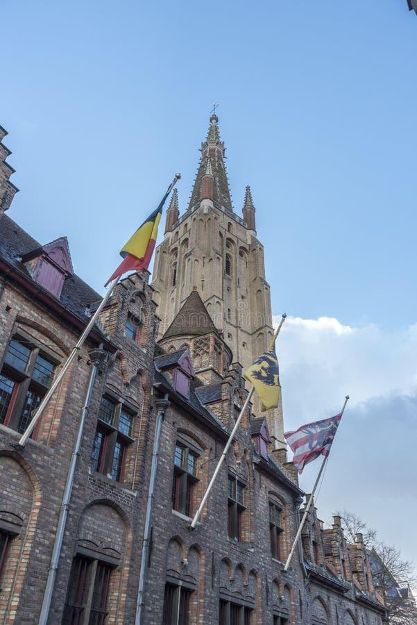 Kyrka av vår kyrktorn för dam Bruges royaltyfri bild