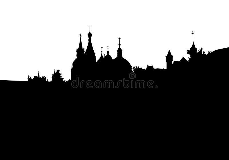 Kyrka för översikt för vektor för svart för konturMoskvastad vektor illustrationer