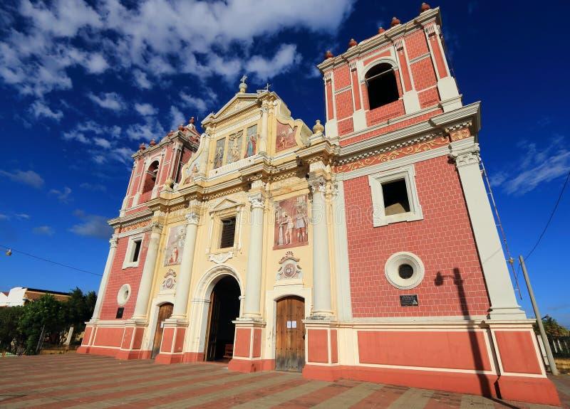 Kyrka för El Calvario, Leon, Nicaragua royaltyfri foto