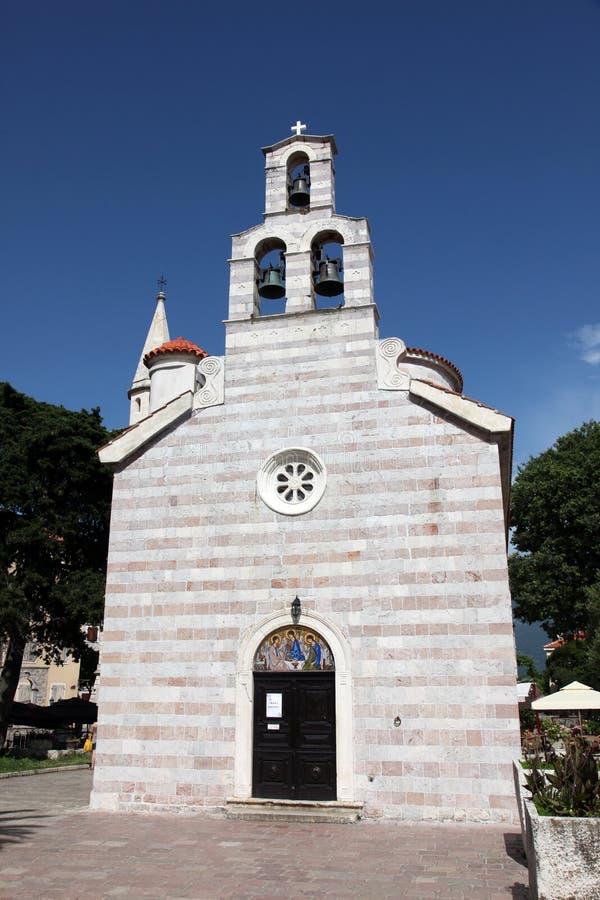 Kyrka för helig Treenighet i Budva, Montenegro royaltyfri bild