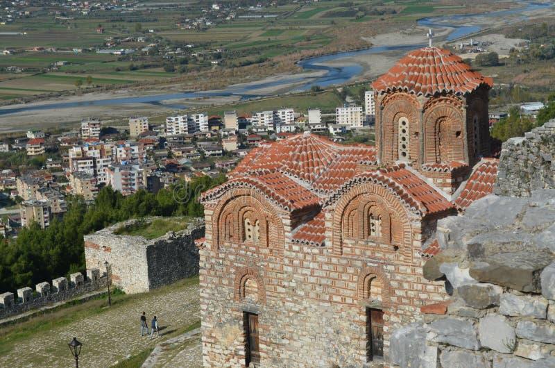 Kyrka för helig Treenighet i den Berat slotten, Albanien arkivfoto