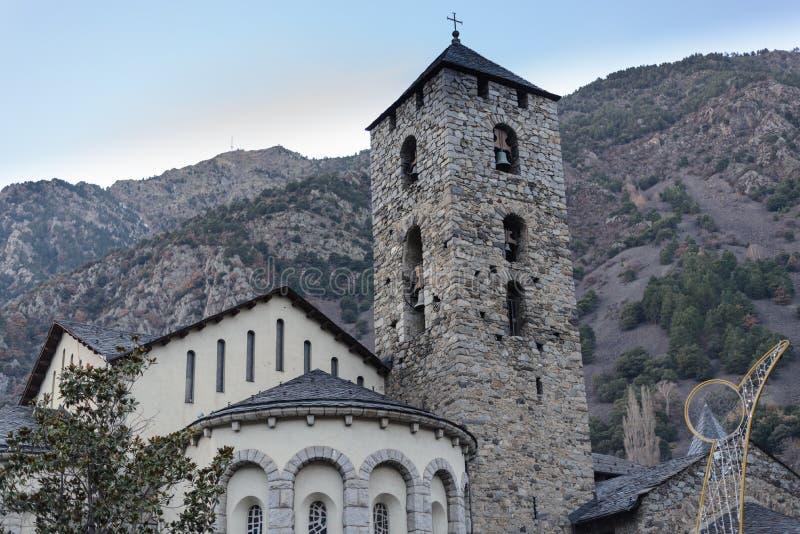 Kyrka för romansk konst i Andorra la Vella, Andorra royaltyfri foto