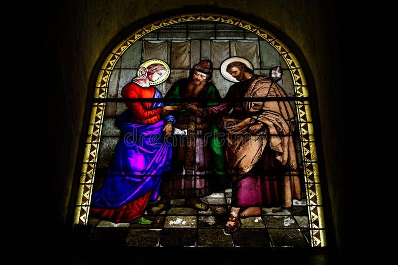 Kyrka för St Joseph ` s, Nazareth, Israel arkivfoton