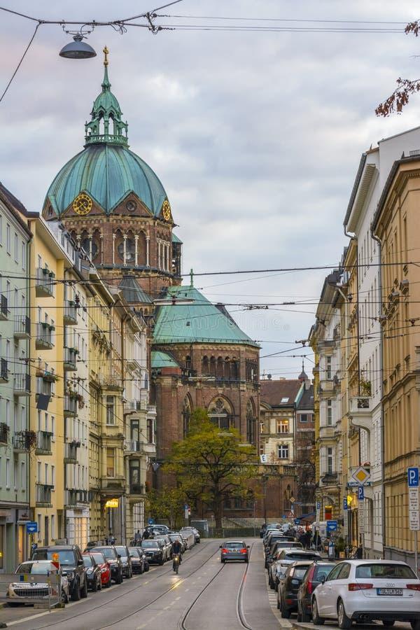 Kyrka för St Lukas, Munich, Tyskland royaltyfria bilder