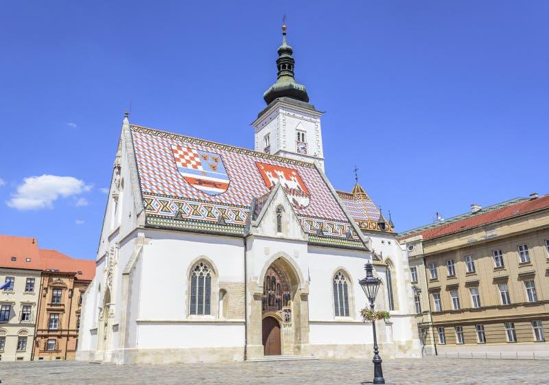 Kyrka för St Mark ` s på fyrkanten för St Mark ` s, Zagreb royaltyfria foton