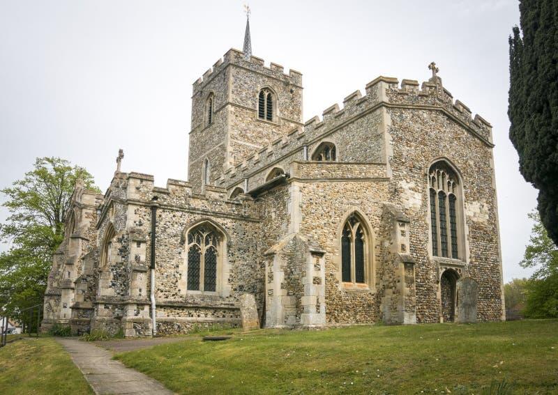 Kyrka för St Mary ` s, Fowlmere, UK royaltyfri bild