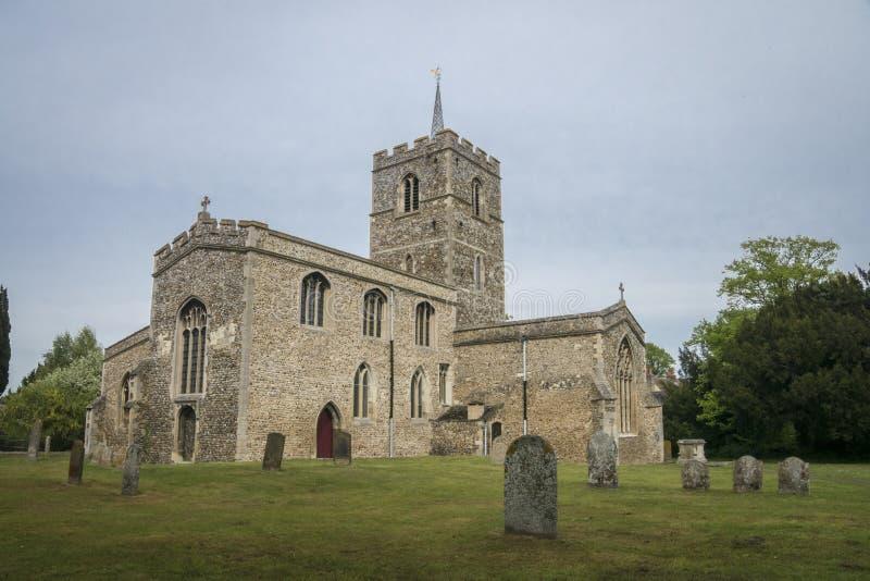 Kyrka för St Mary ` s, Fowlmere, UK royaltyfria bilder