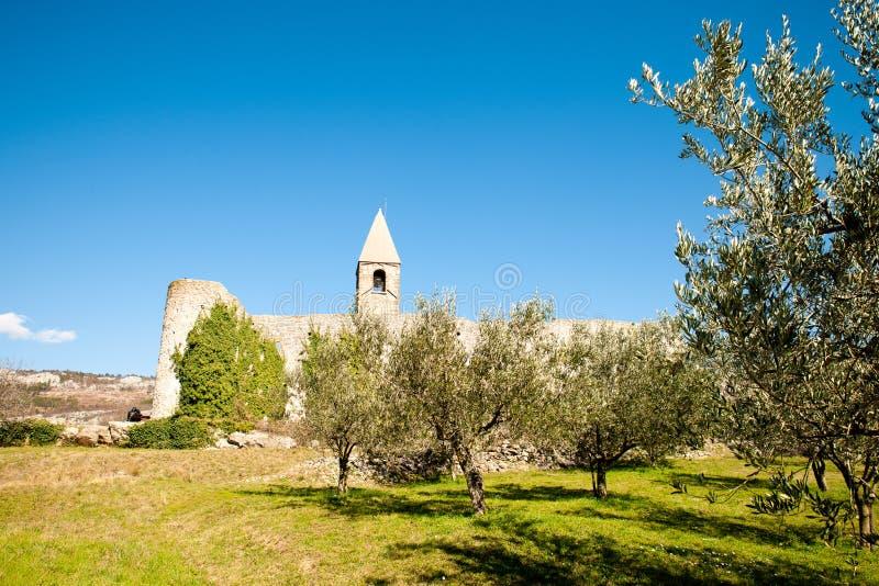 Kyrka f?r helig trinity och medeltida f?stning i olivgr?nt sp?r i Hrastovlje Slovenien Centraleuropa royaltyfri foto