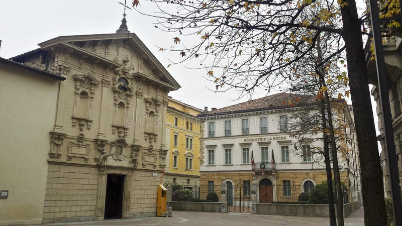 Kyrka från Lugano arkivfoto