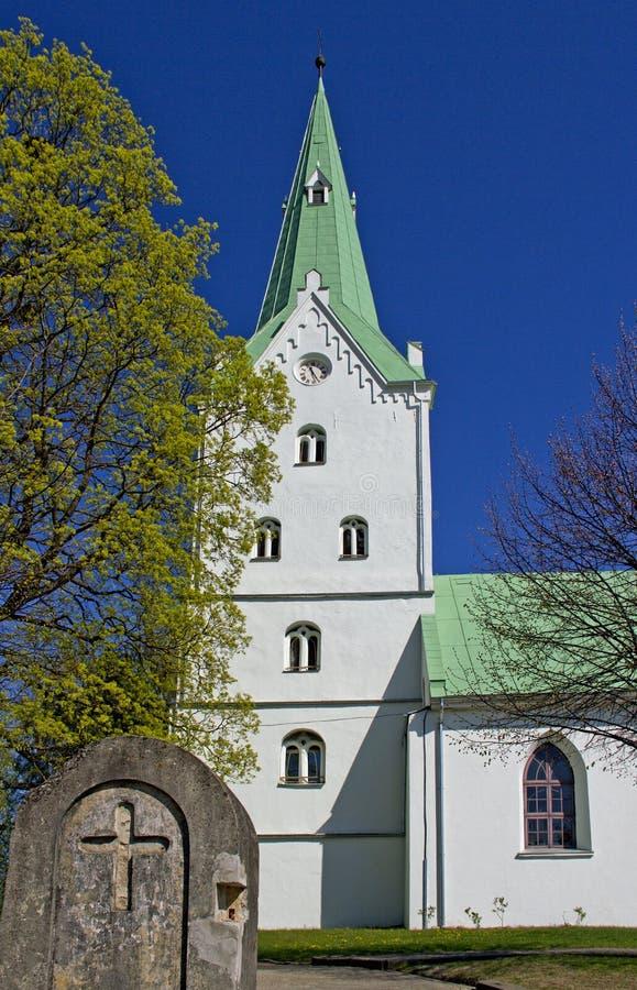 Kyrka i Dobele, Lettland royaltyfria bilder