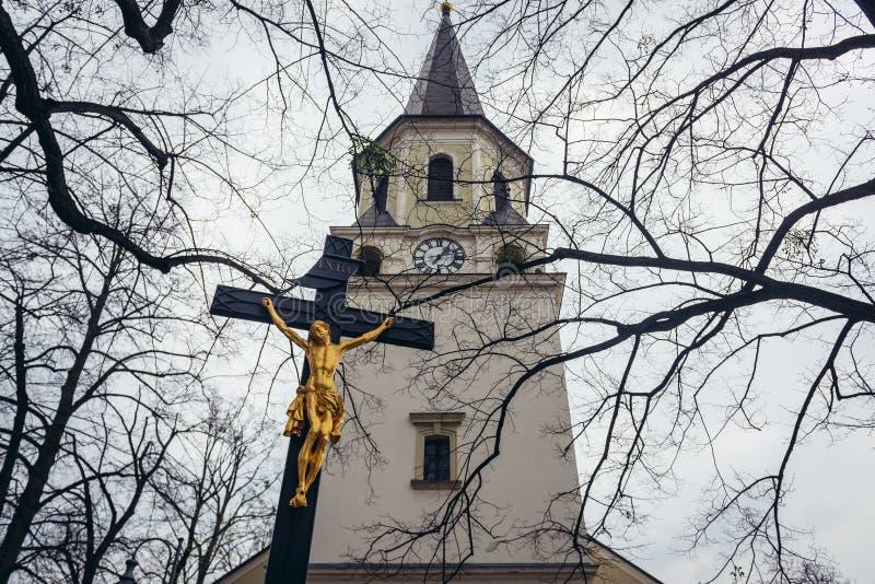 Kyrka i Frydlant nad Ostravici arkivfoton