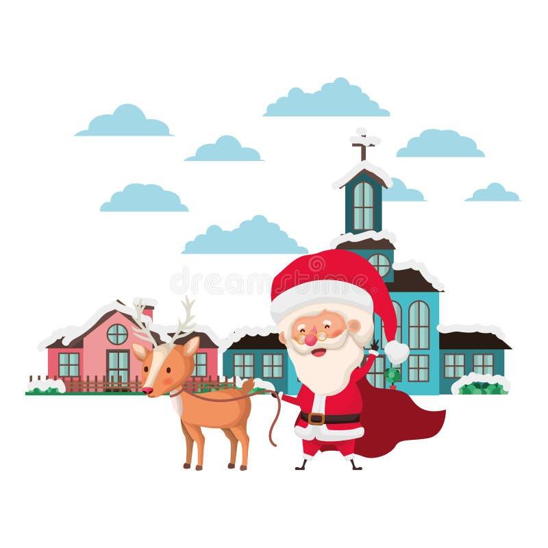 Kyrka i grannskap och Santa Claus med renen royaltyfri illustrationer