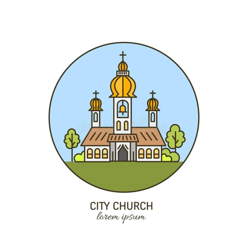 Kyrka i linjär stil royaltyfri illustrationer
