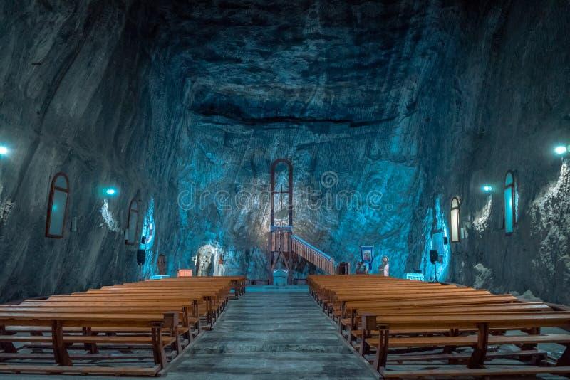 Kyrka i Praid den salta minen, Rumänien arkivfoto