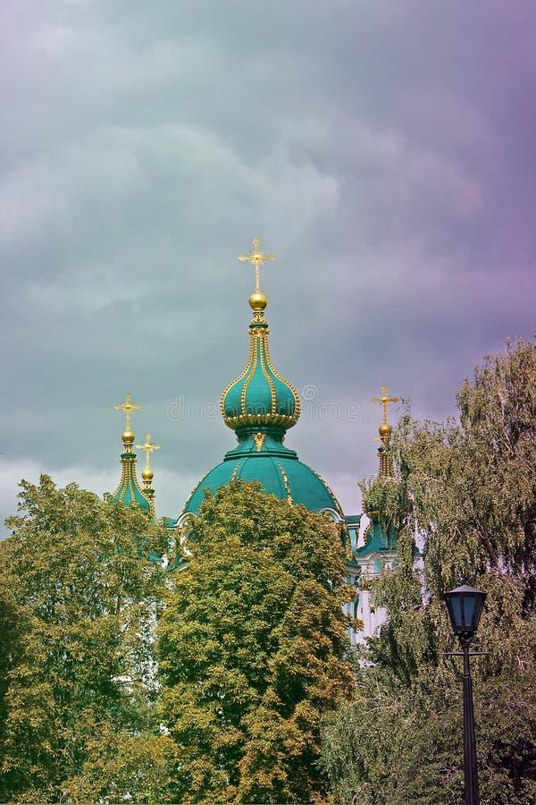 Kyrka Kupoler av kyrkan arkivfoto