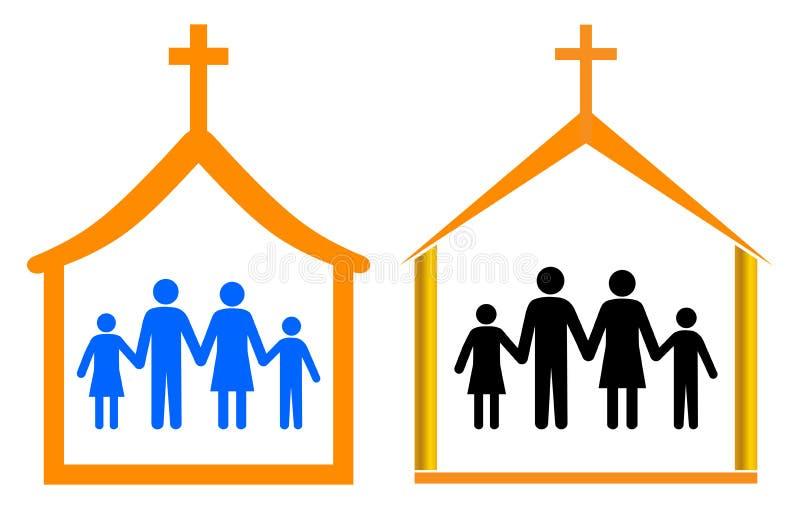 Kyrka och familj stock illustrationer