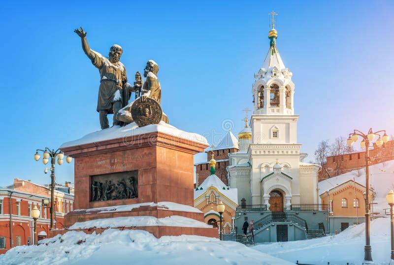 Kyrka och monument till Minin och Pozharsky royaltyfri fotografi